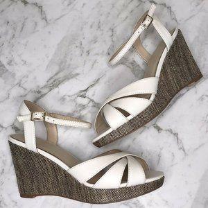 Jane Debster White Fling Wedges Sandals Shoes 6